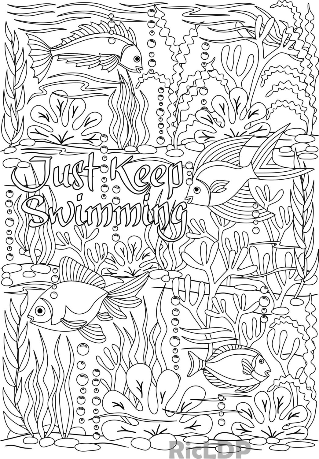 Printable Just Keep Swimming Under The Sea Design