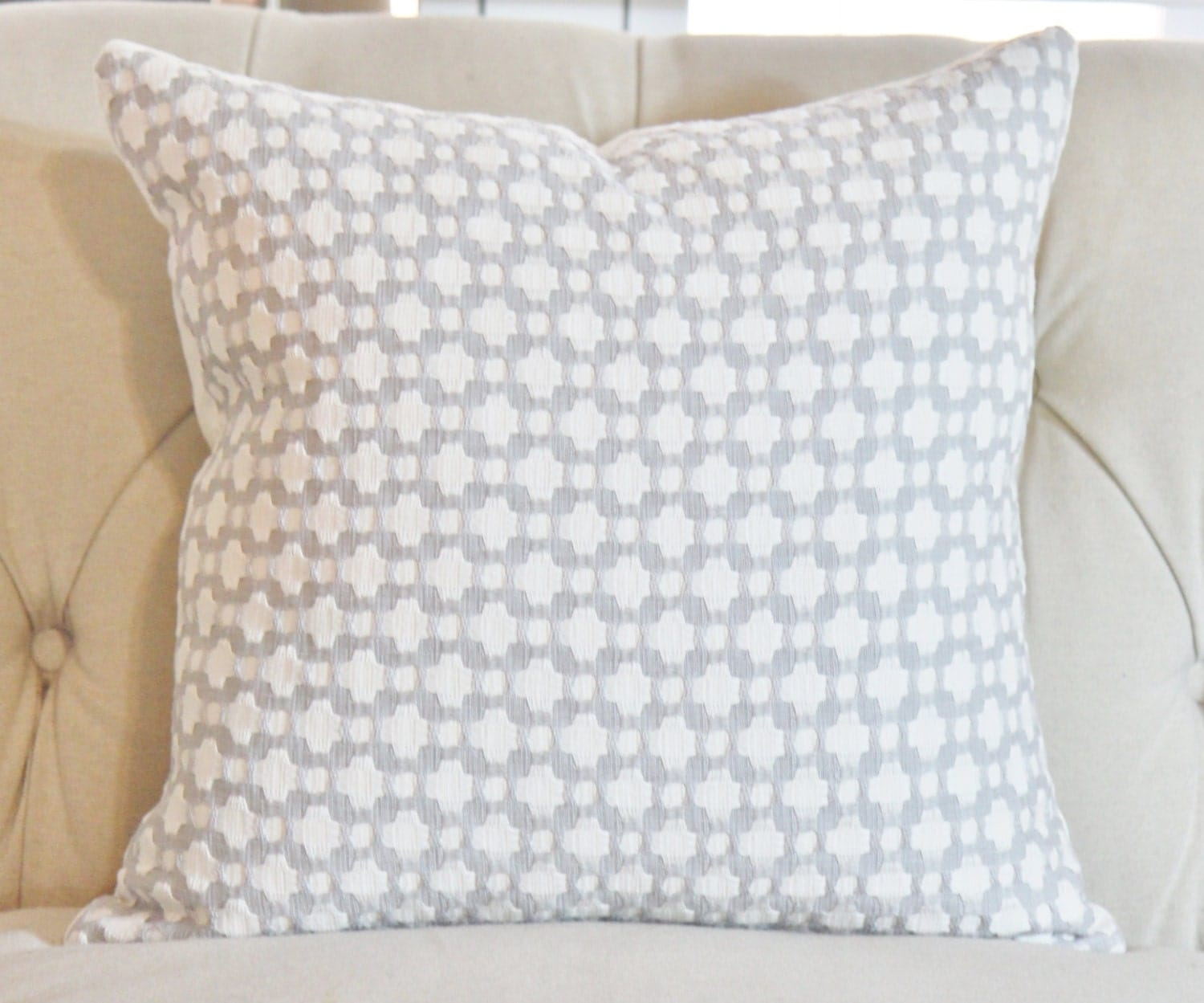 Schumacher Betwixt Zink Gray & Off White Pillow Cover