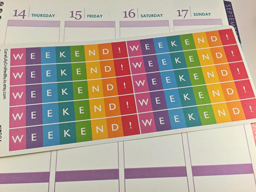weekend planner stickers, erin condren, plum paper, vertical, rainbow, carefullycraftedbyjo, planner stickers for erin condren, life planner