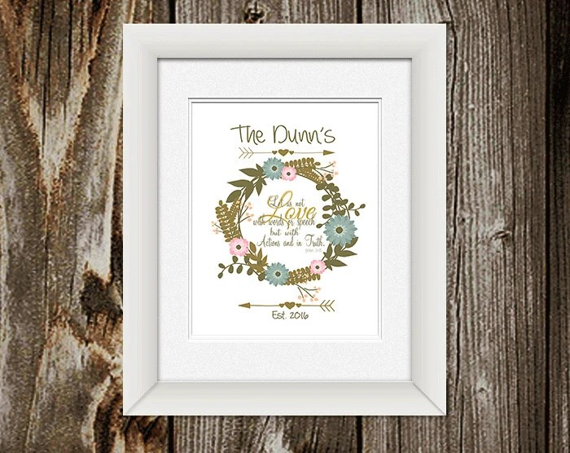 Personalized Wedding Scripture Art Wedding Gift 1 John
