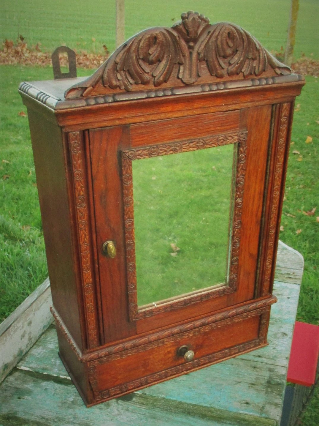 Antique French Carved Wood Medicine Bathroom Wall Cabinet