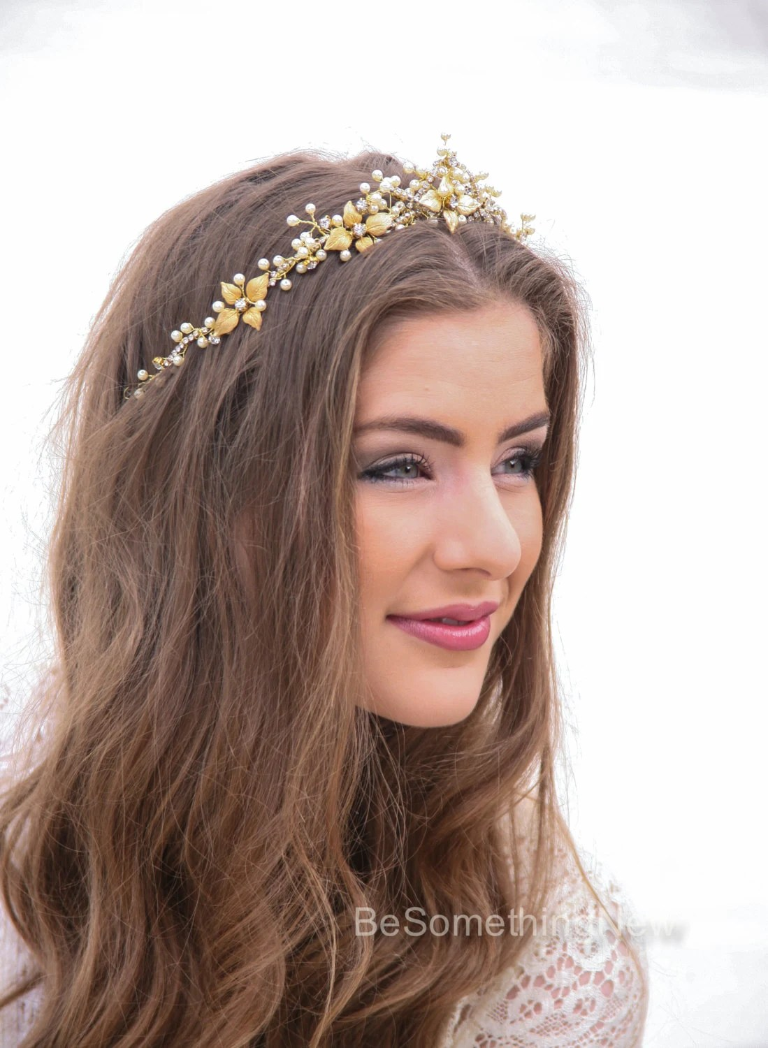 Wedding Crown In Gold And Ivory Metal Leaf Wedding Headpiece
