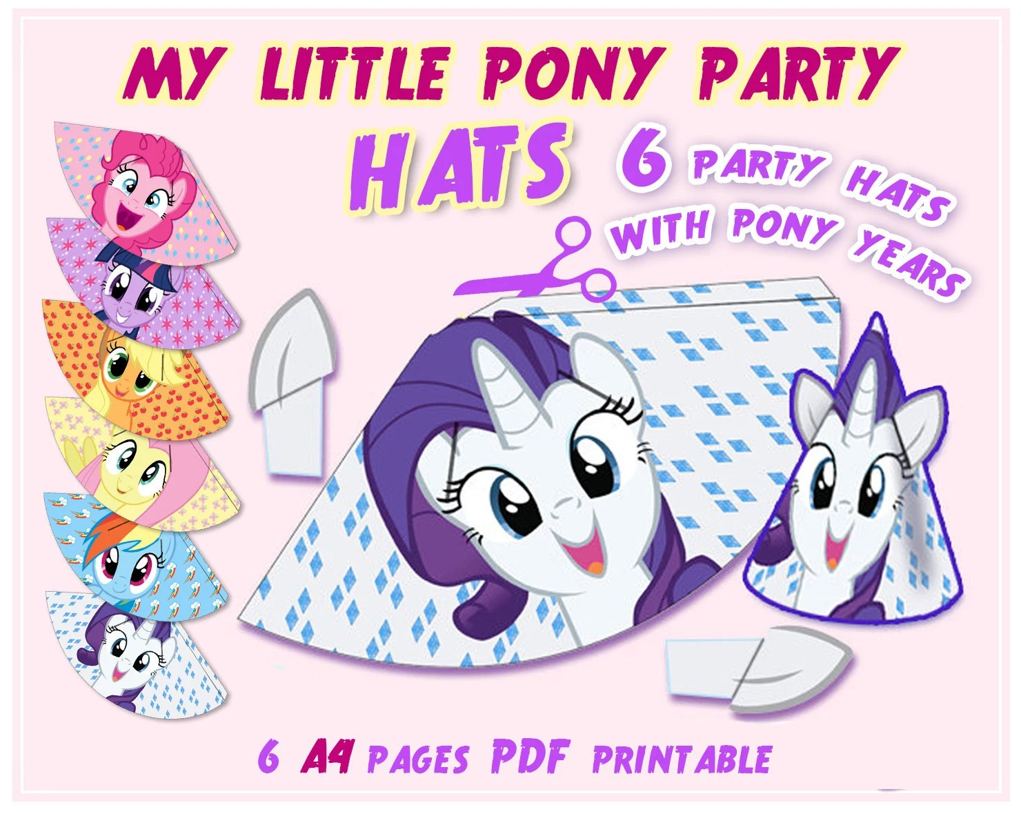 My Little Pony Party Hats Party Printables Party Supplies