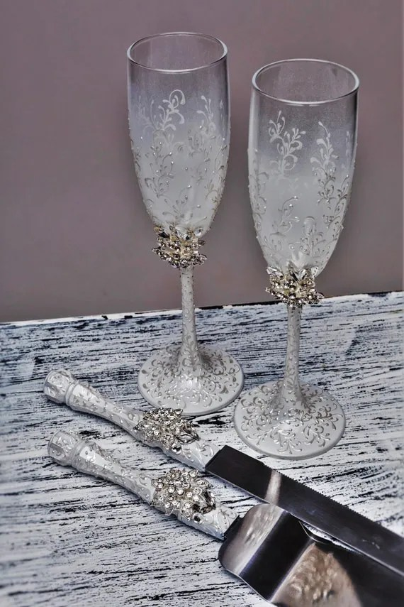 Wedding Personalized Flutes And Cake Server Set White And