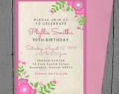Floral Birthday Invitatio...