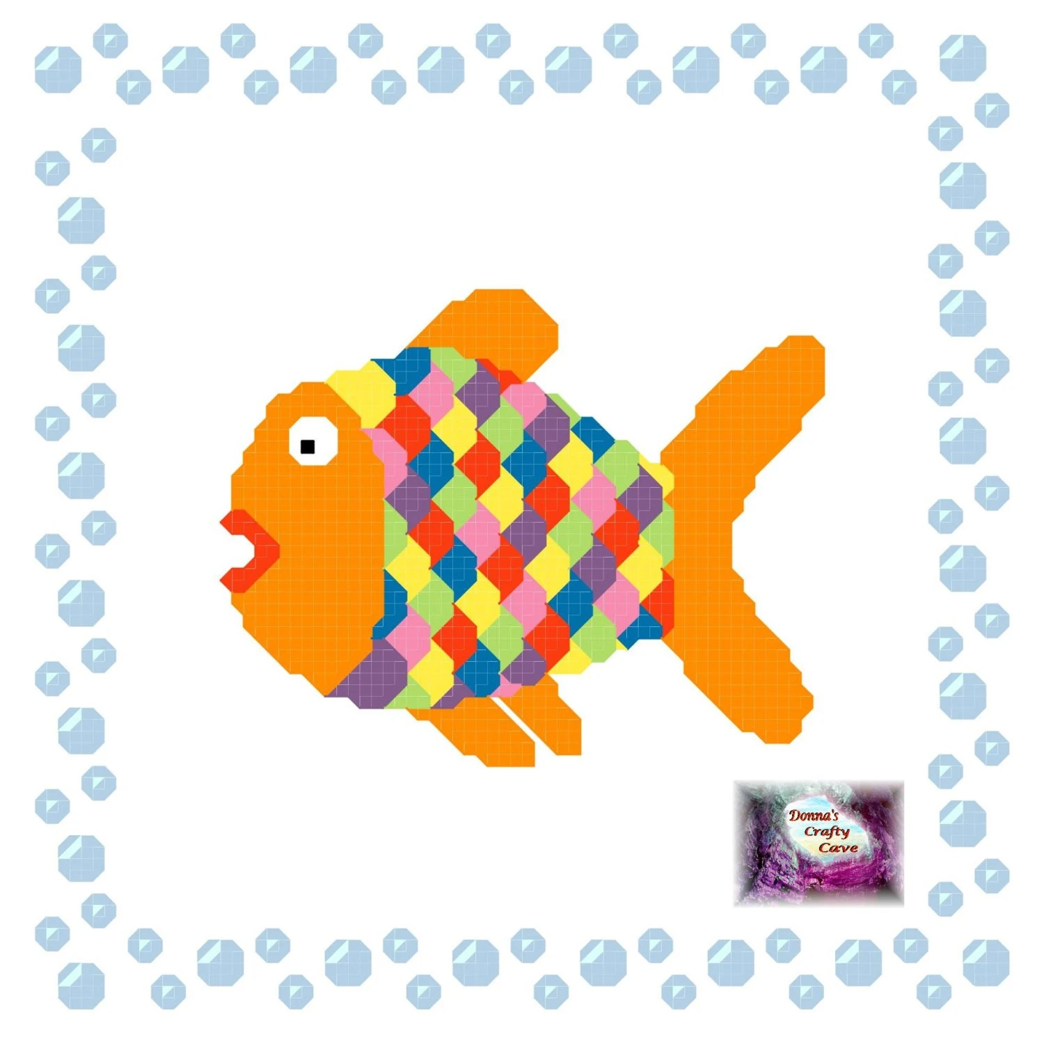 Rainbow Fish In A Bubble Border 4 Cross Stitch Pattern
