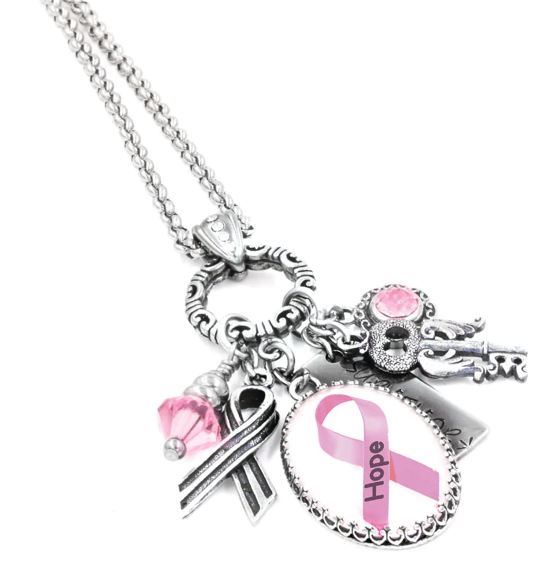 Breast Cancer Awareness Charm Necklace Breast Cancer Jewelry