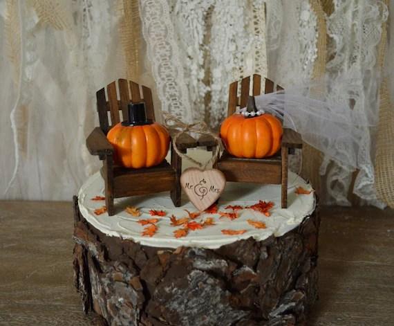 Pumpkin Fall Autumn Wedding Cake Topper Themed Thanksgiving