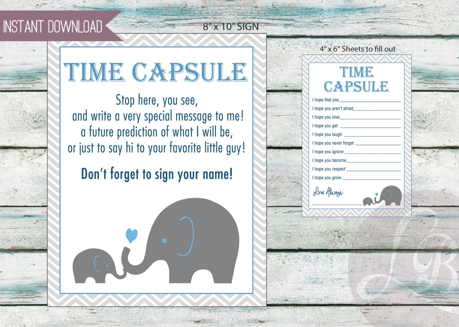 Baby Time Capsule Baby Shower Game Dear Baby 3 Files