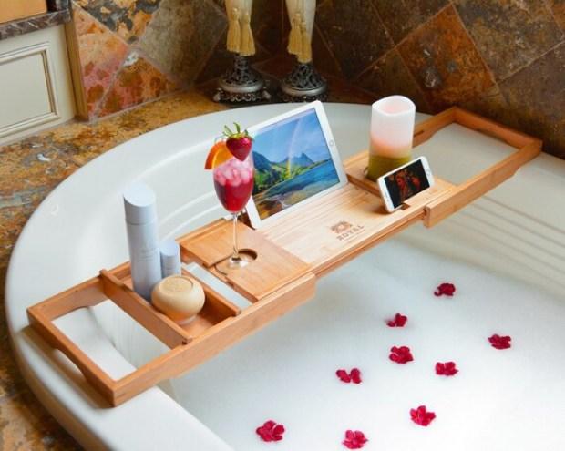 ROYAL CRAFT WOOD Bathtub Caddy, Bamboo Shower Bath Tub Tray Organizer, Romantic Wedding Gift, Present