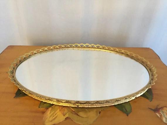 Vanity Mirror Gold Metal Scallop Edge Oval Vintage Jewelry
