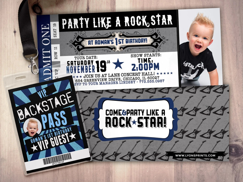 Rock Concert Ticket Style Birthday Invitations