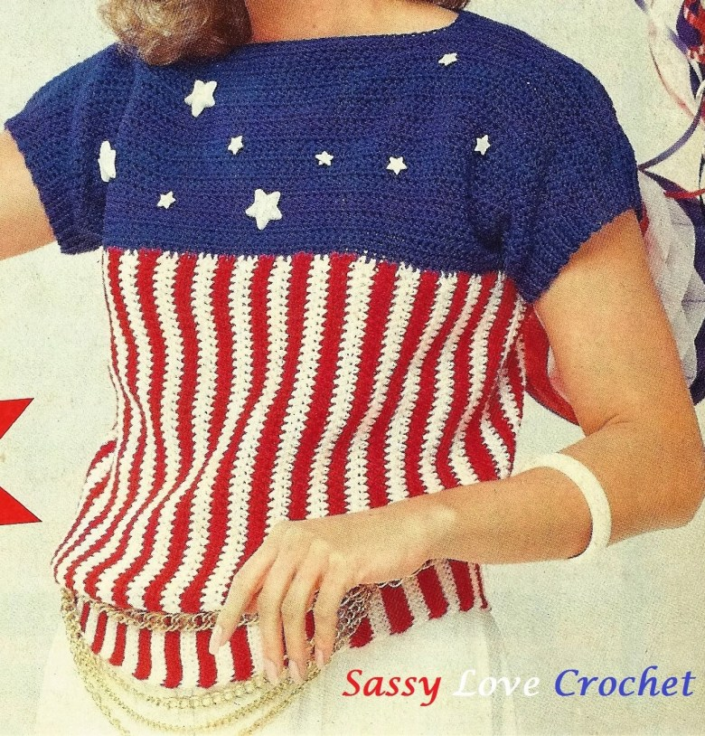 Crochet Patriotic U.S.A. Stars & Stripes Top Pattern, Ladies Womens 4th of July Pattern, Instant Download
