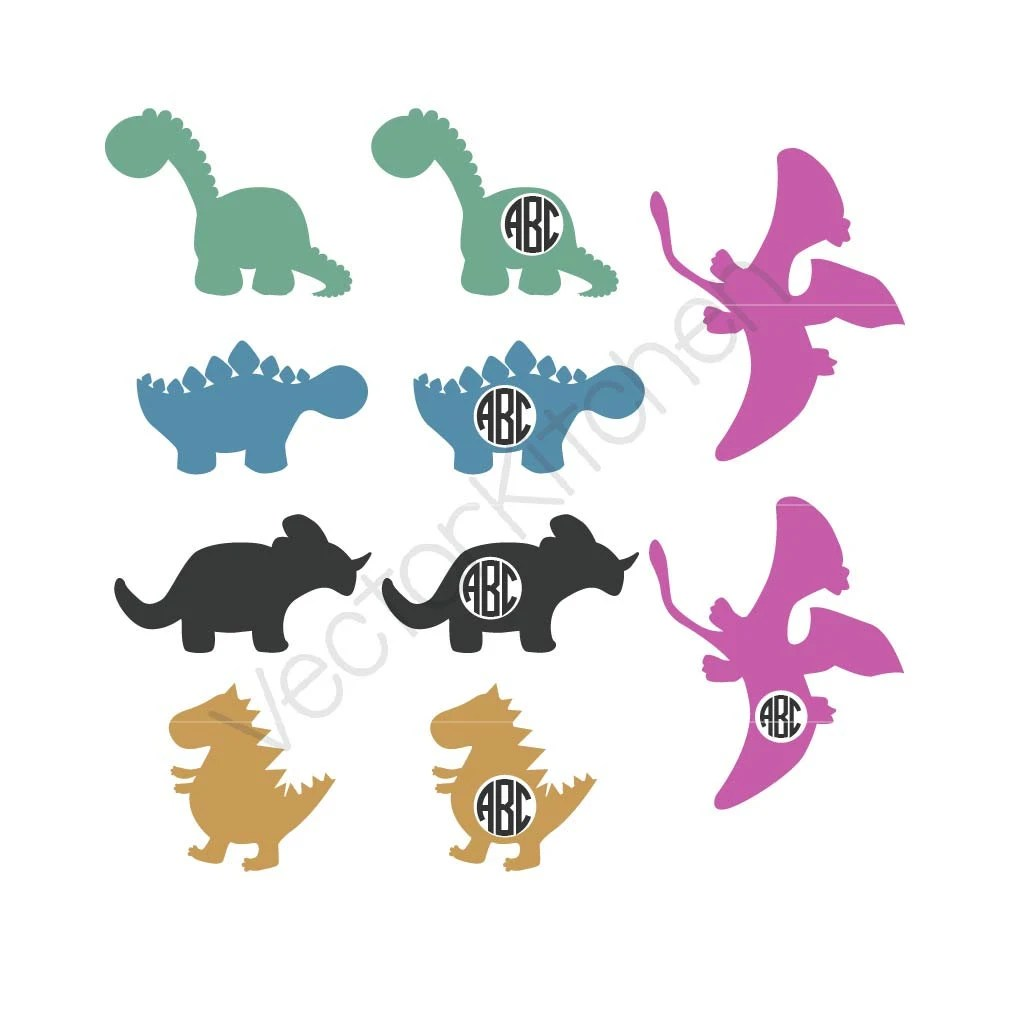 Download Dinosaur Set / Monogram SVG EPS DXF Silhouette Cricut