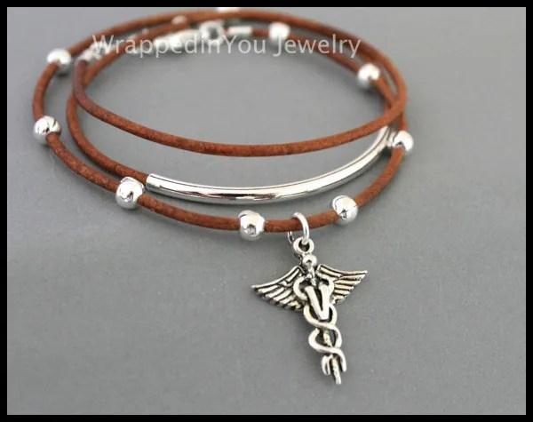 VETERINARIAN Boho Tube Leather Wrap Bangle Bracelet