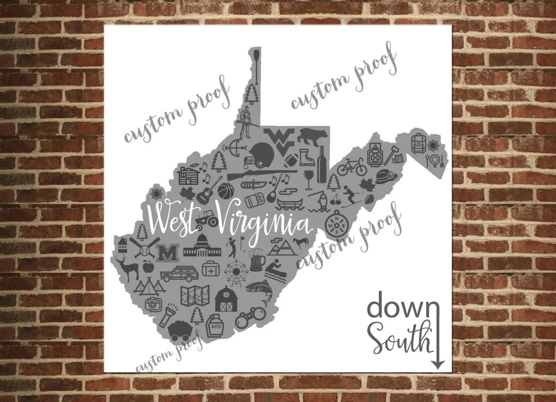 West Virginia Art Print Wv Map Print West Virginia State