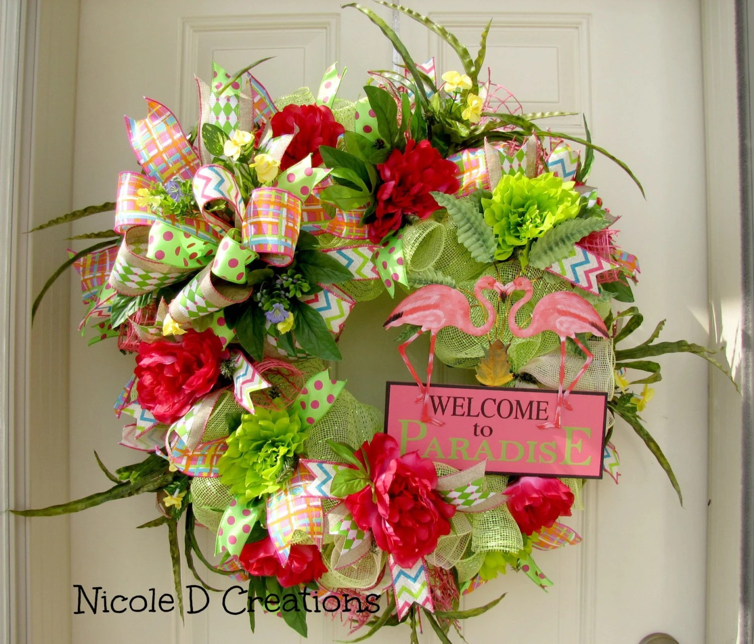 Spring Wreath Summer Wreath Front Door Wreaths Deco Mesh