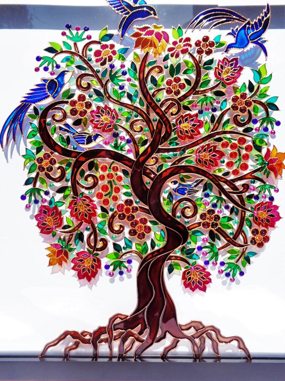 Tree Of Life Art 15x15glass Painting Glass Art