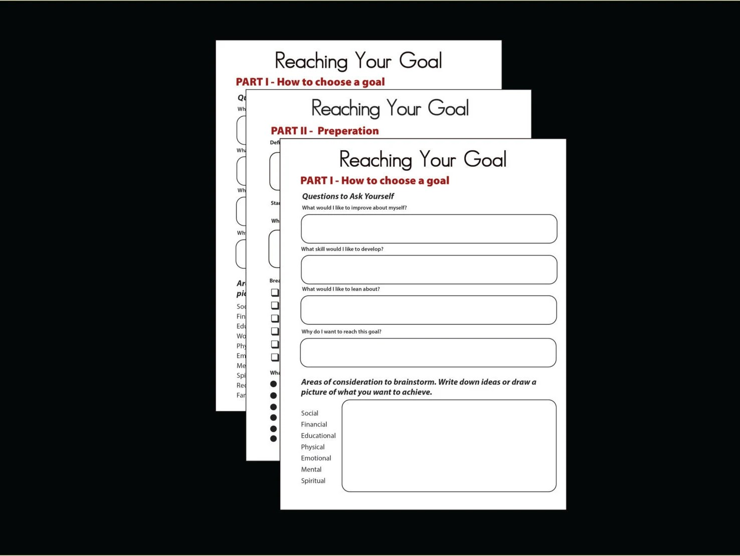 Printable Goal Journal Self Esteem Building Worksheet Mental