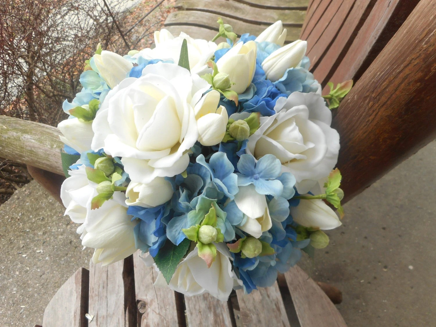 Blue Wedding Bouquet / Blue Bridal Bouquet / Blue And White