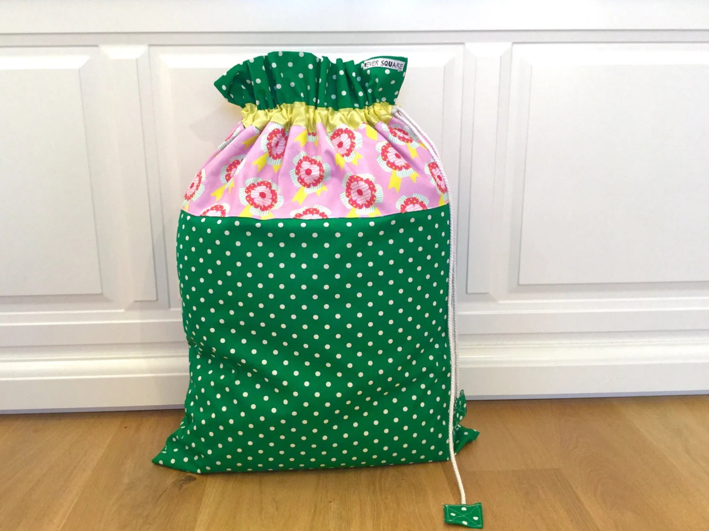 Green Polkadot Laundry Bag With Original Rosette Fabric Free