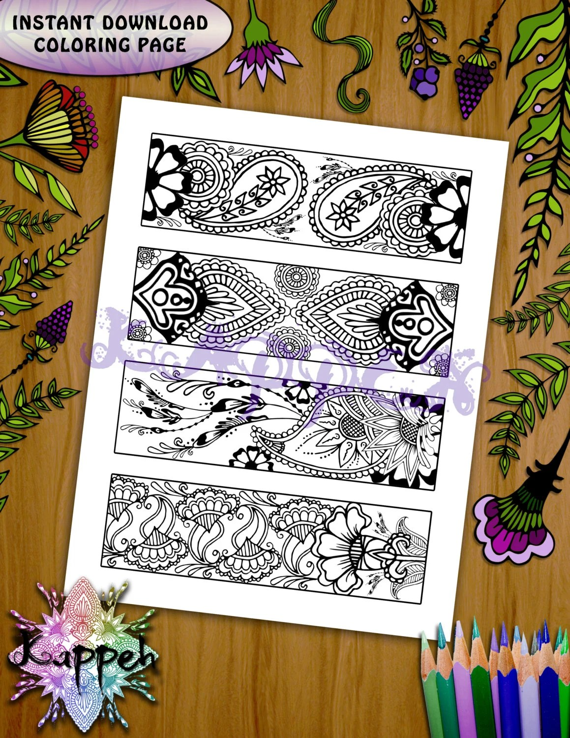 Printable Coloring Page Floral Henna Bookmark Design X4