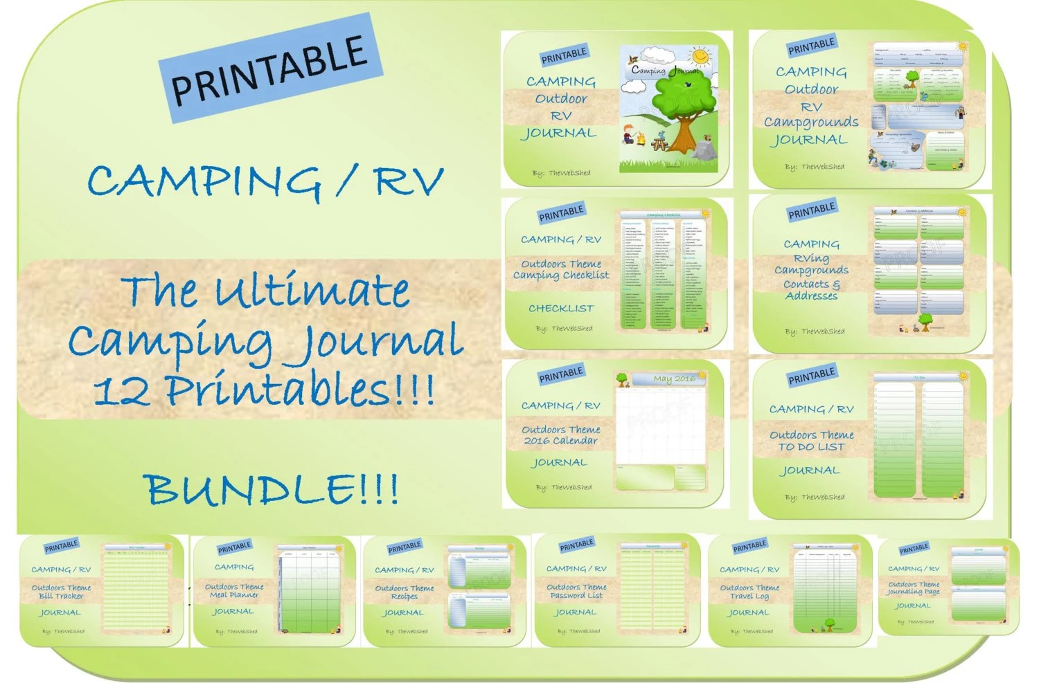 Ultimate Camping Journal Bundle 12 Printables 23 Pages