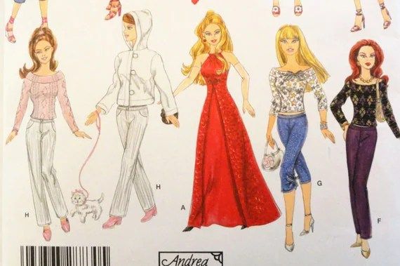Barbie Doll Clothes Pattern Dress Evening Gown Top Skirt