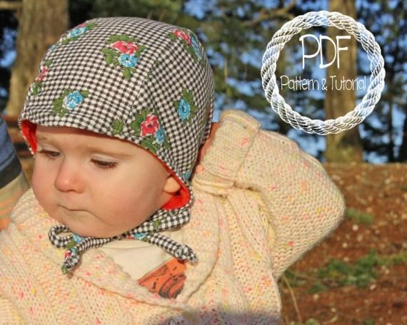 Baby Bonnet Sewing Pattern, DIY, Classic Bonnet Pattern, Easy Sewing Pattern, Brimless Bonnet, Bonnets