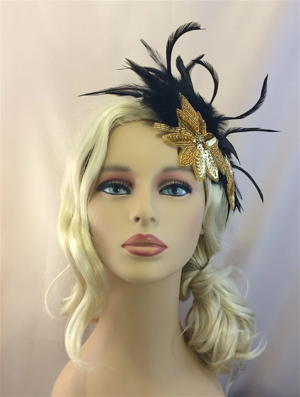 Fascinator, Wedding Fascinator, Great Gatsby Headpiece, 1920s Flapper Headband, 1920s Hair Piece, Gold black Art Deco Headpiece, Speakeasy
