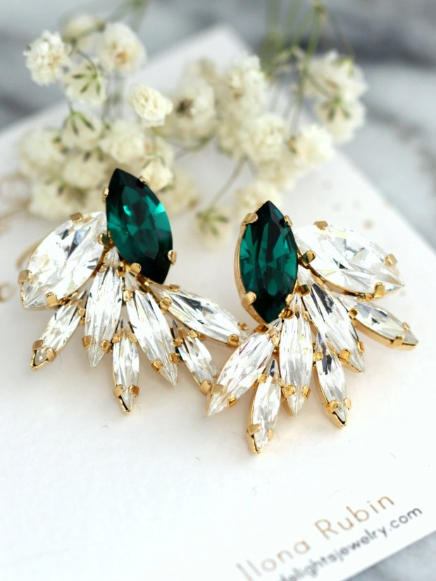 Emerald Earrings, Emerald Bridal Earrings, Swarovski Emerald Green Earrings, Statement Emerald Earrings, Emerald Cluster Earrings.