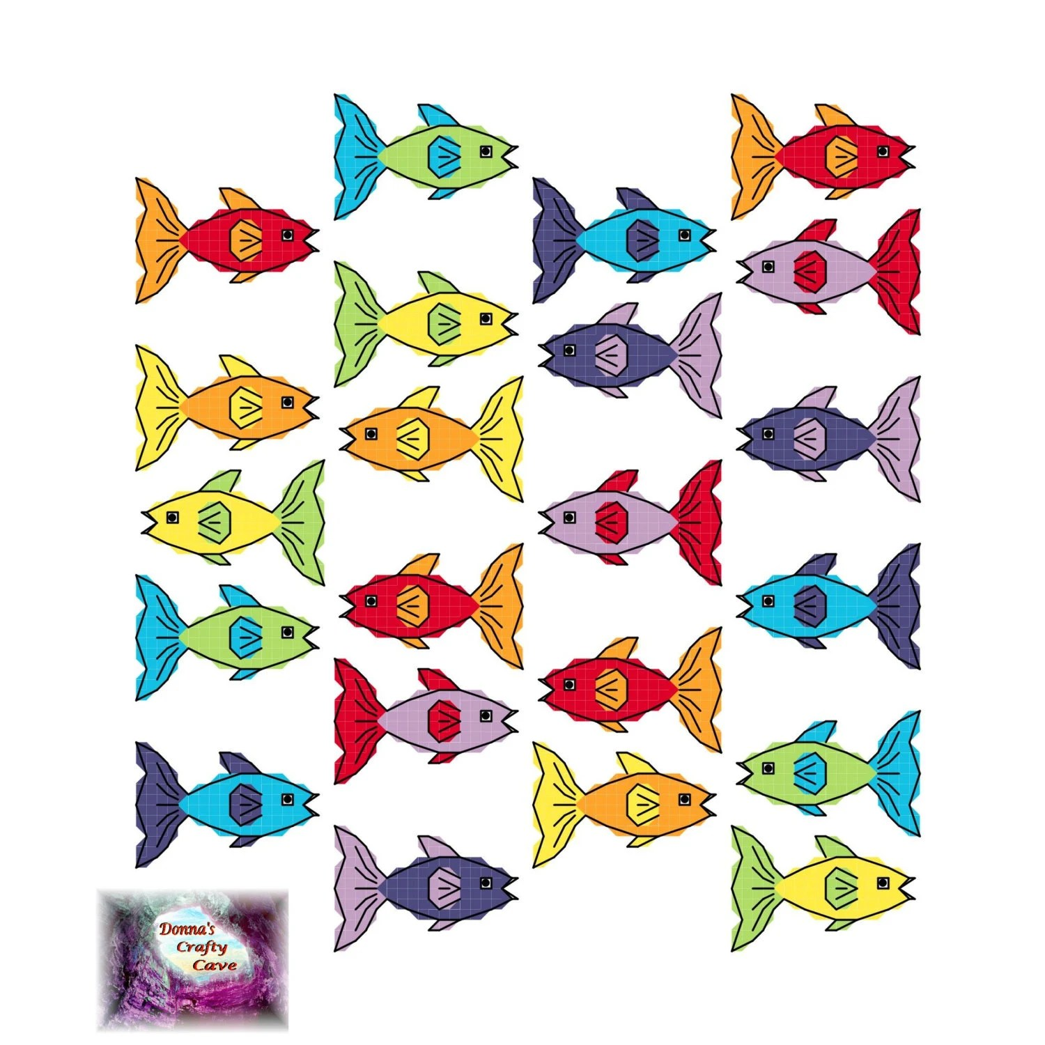Small Rainbow Fish 34 Cross Stitch Pattern Chart