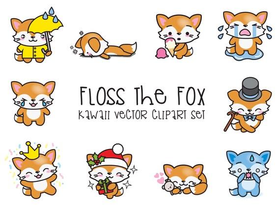 Premium Vector Clipart Kawaii Floss The Fox Cute Fox