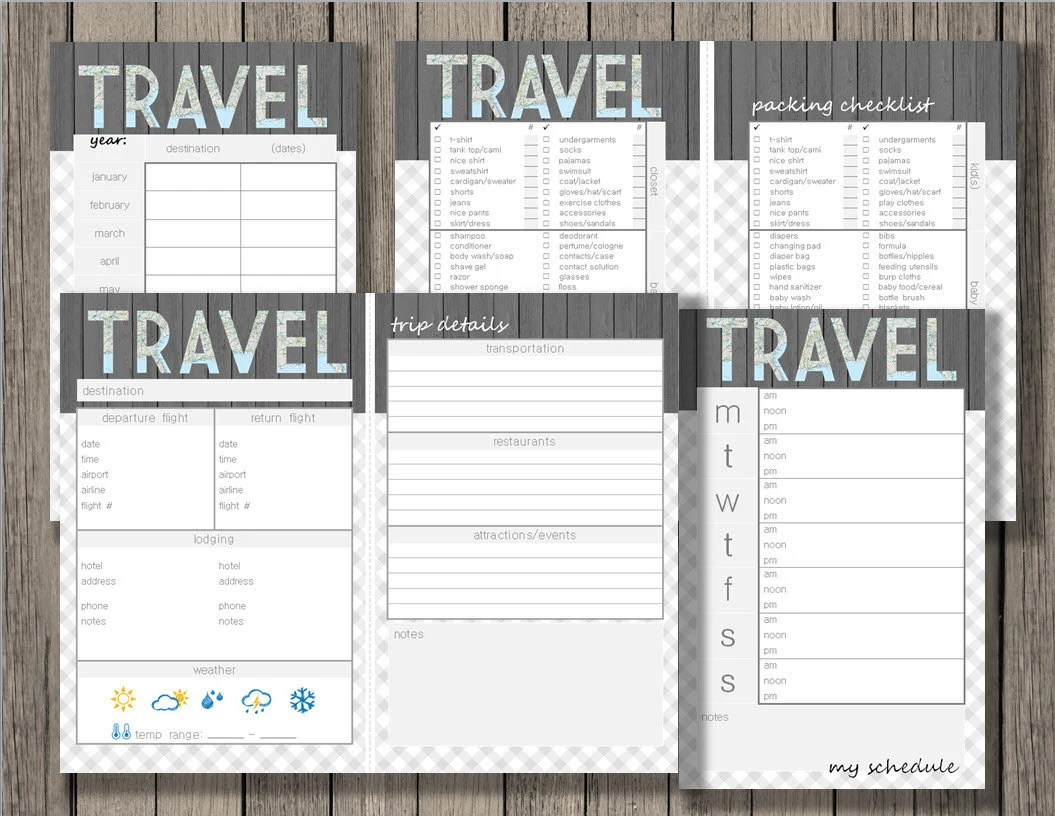 Travel Printable Vacation Planner Yearly Trip Planner Trip