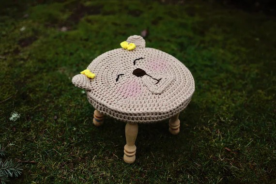 Instant PDF Download, Sweet Bear Stool Cover, Crochet Pattern