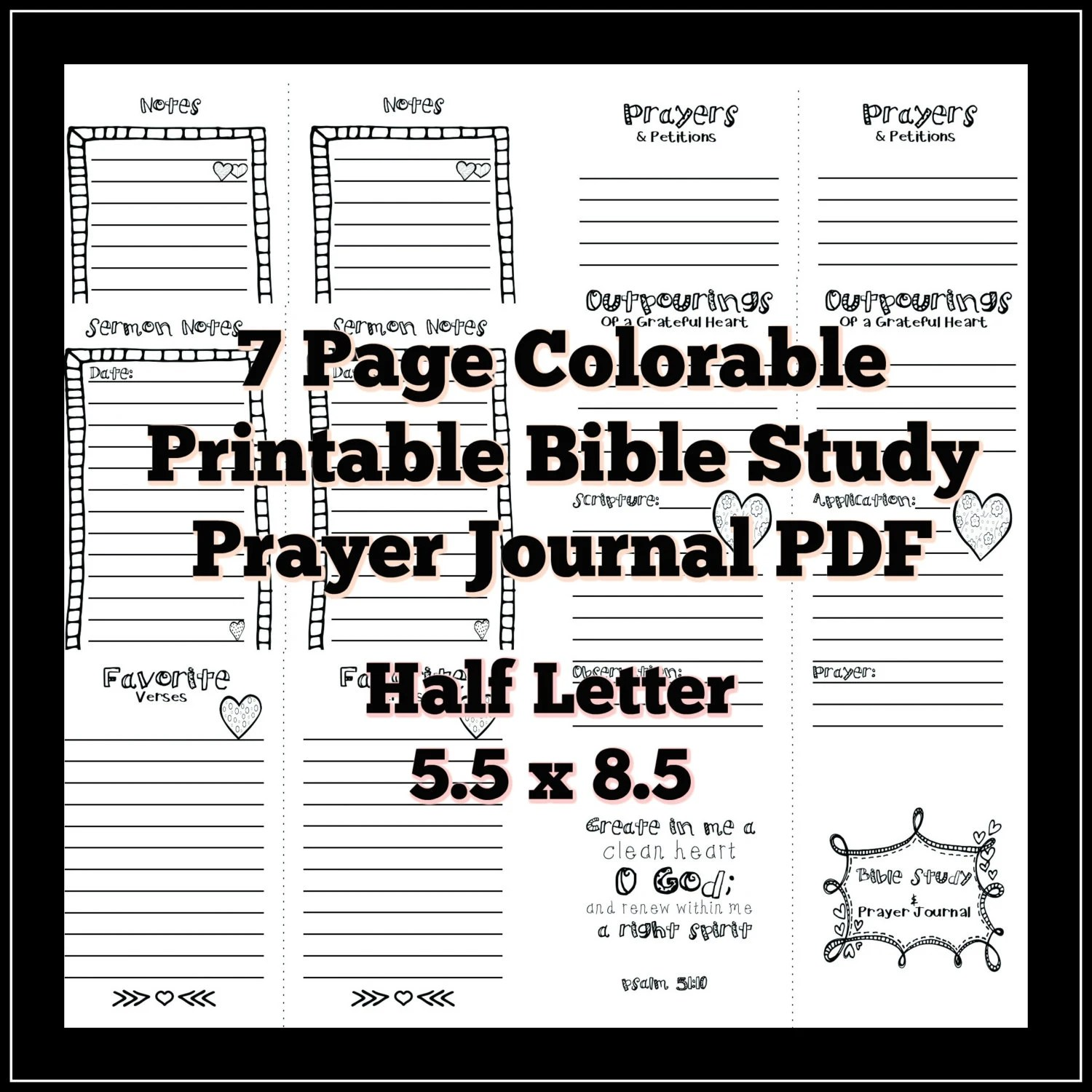 Half Letter 5 5x8 5 Bible Study Prayer Journal Colorable