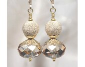 Soft spring sunshine: Sparkly Golden Swarovski Crystal Earrings, Champagne, Elegant, Gold Filled Earrings