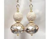 Soft spring sunshine: Sparkly Golden Swarovski Crystal Earrings, Champagne, Elegant, Gold Filled Earrings