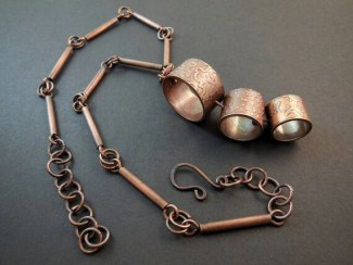 Acid etched copper tube spinning beads pendant with copper tube necklace