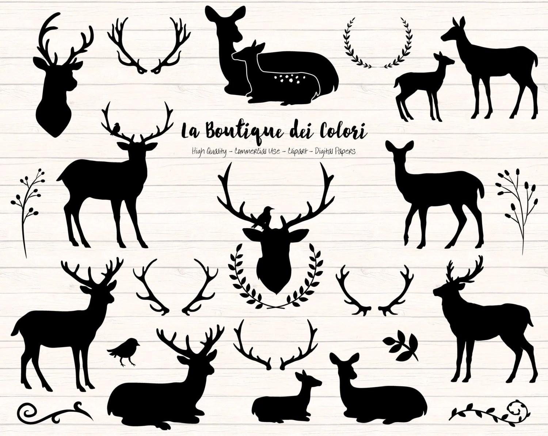Black Deer Silhouette Clipart Cute Graphics Christmas