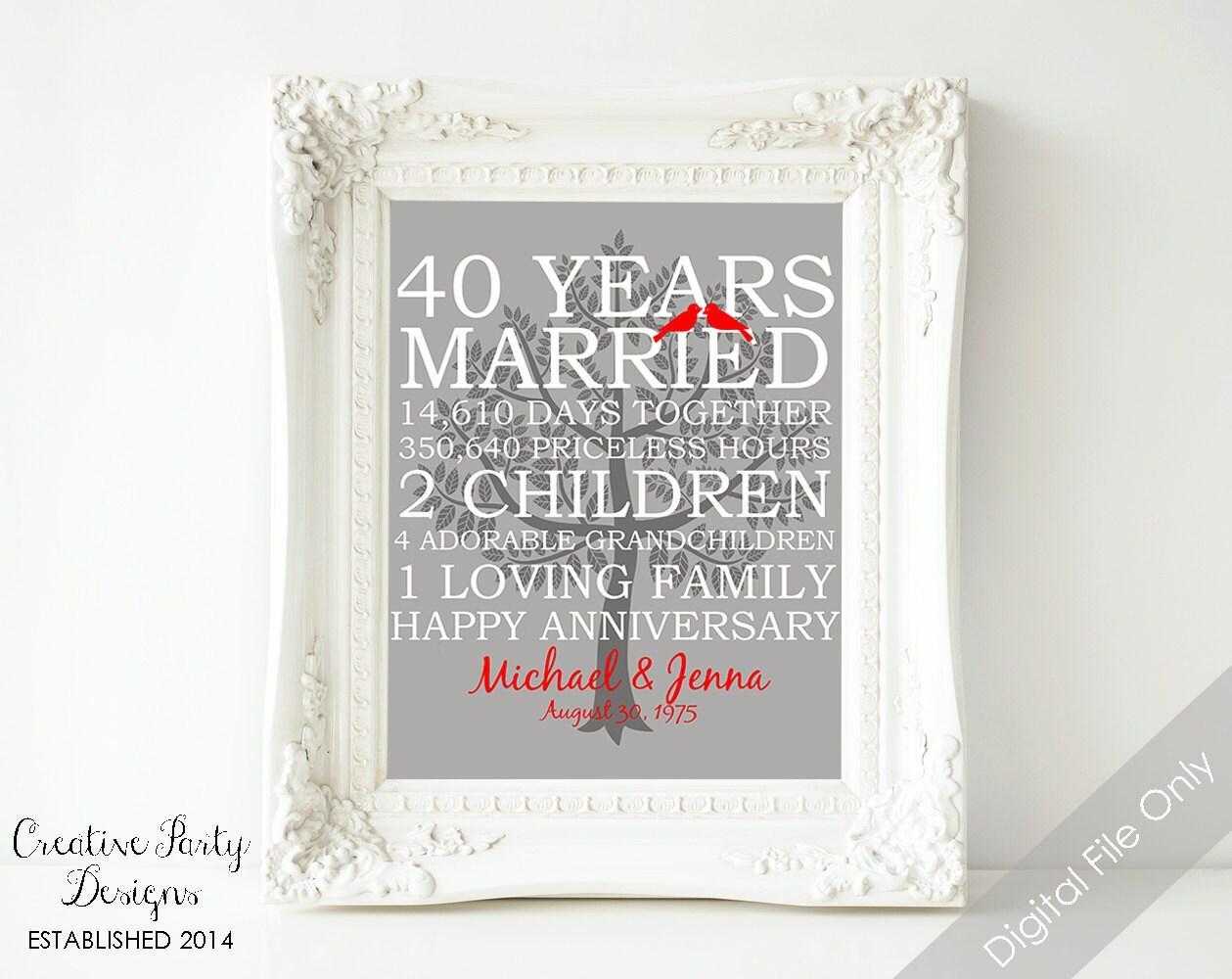 40th Wedding Anniversary Gift 40th Anniversary Print