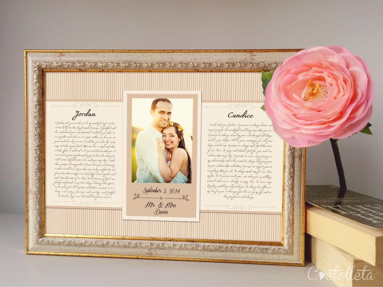 Wedding Vow Art Framed Wedding Vows Wedding Vow Keepsake