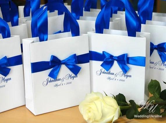 Royal Blue Wedding Gift Bags With Satin Ribbon Bow And Names