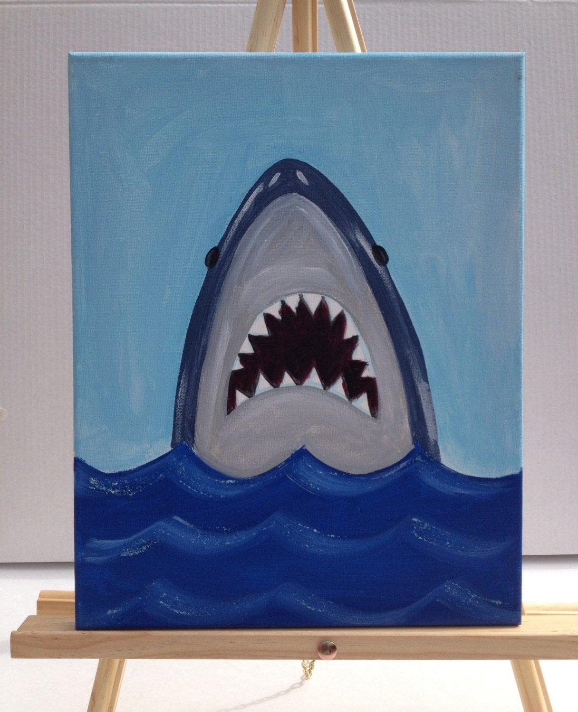 Shark Painting Beach Art Art For Kids By Thegildedpolkadot