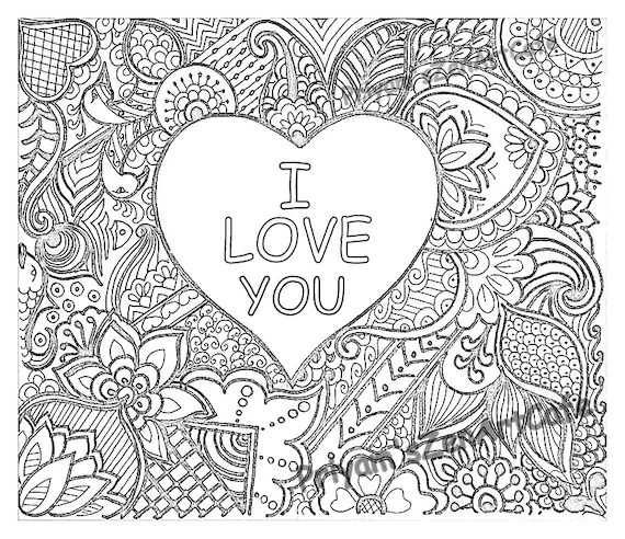 Easy Coloring Page Romantic Gift I Love You Art Love