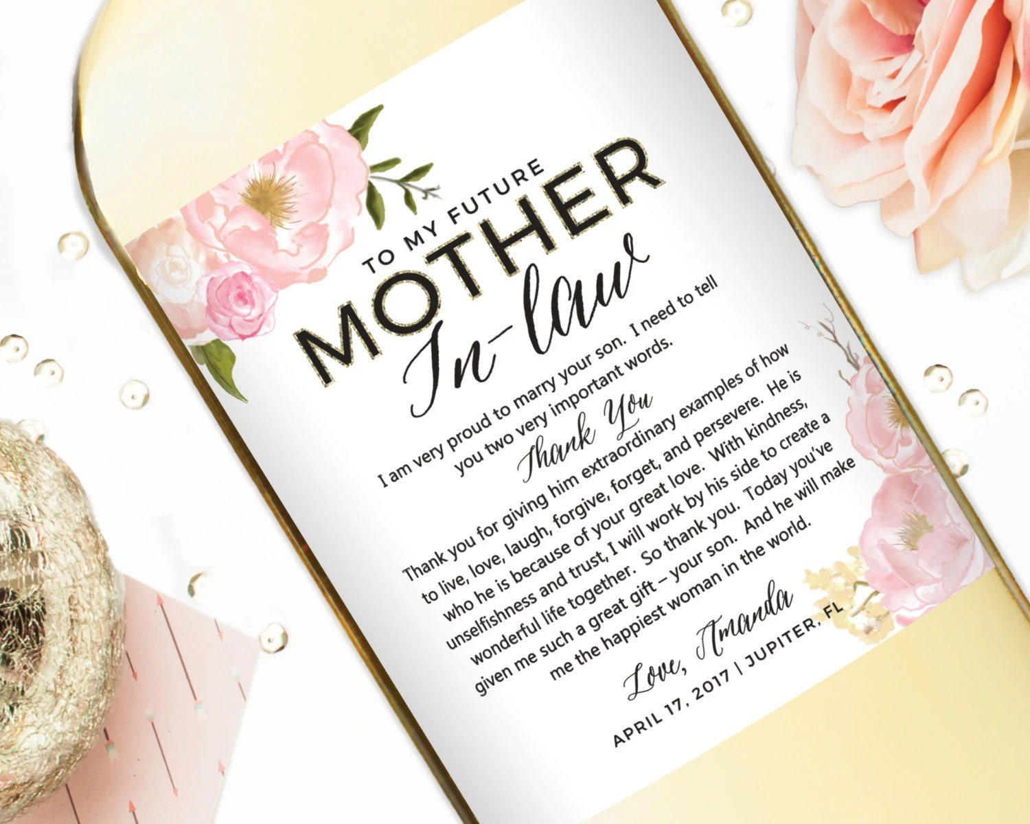 Wedding Gift Wine Labels For Parents Mother Of The Bride