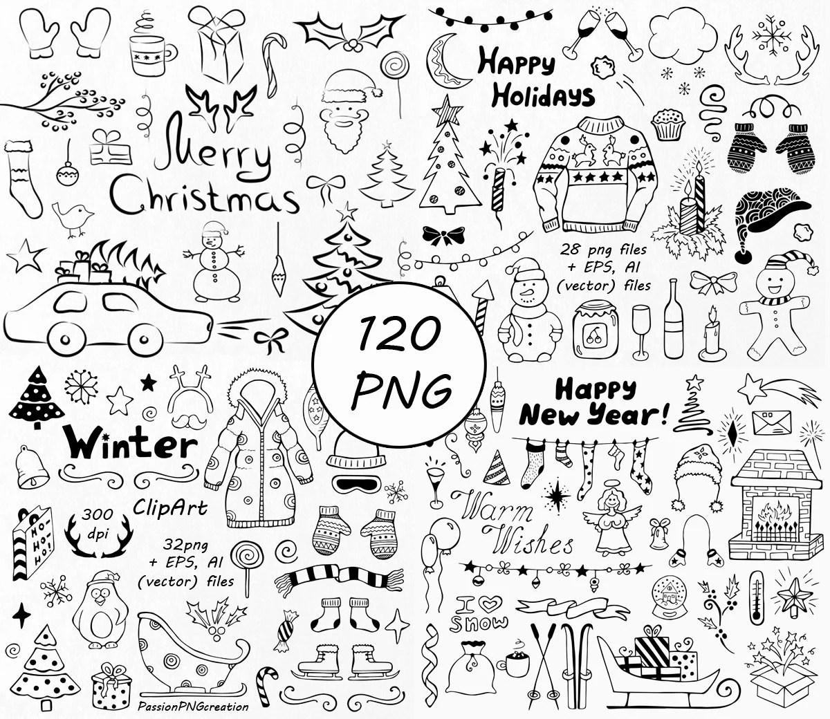 Big Set 120 Files Winter Doodle Clipart Hand Drawn