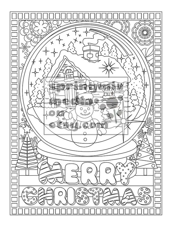 coloring pages snow globe