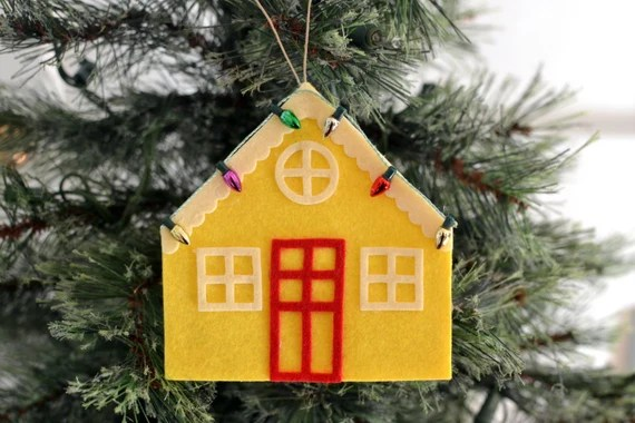 House Ornament, Felt Ornament, Felt House Christmas Ornament, Wine Bottle Tag, Gift Tag, Home Sweet Home
