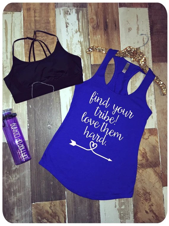 Download Find your Tribe Love them Hard Terry Style Racerback Tank Top